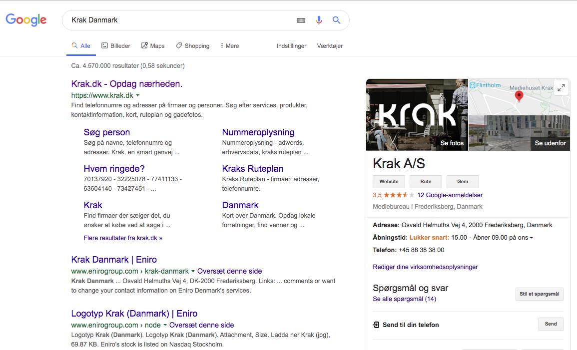 SERP example for Krak Danmark